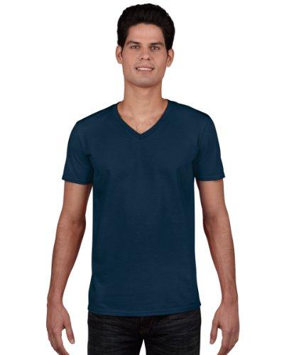 Gildan Men's Soft Style V-Neck T-Shirt-Navy-sizeM M,Navy