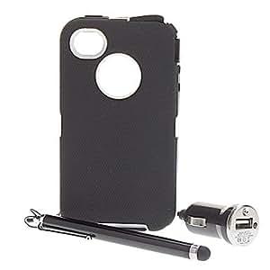 conseguir Pen + mate de goma de la cubierta dura resistente para el iPhone 4/4S (colores surtidos) , Púrpula