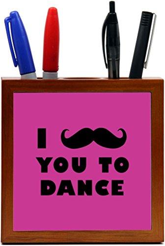 Rikki Knight I Mustache You To Dance Rose Pink Color Design 5-Inch Tile Wooden Tile Pen Holder (RK-PH42951) by Rikki Knight