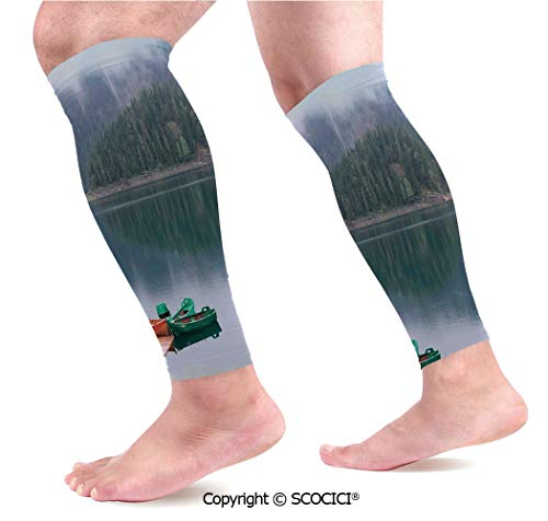 Cabelas Canoe - Flexible Breathable Comfortable Leg Skin Protector Sleeve Forest and Lake Landscape with Canoes by The Pier in European Countryside Fall Photo Calf Compression Sleeve