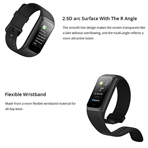 Huami Amazfit Band 2 Cor with All-Day Heart Rate and Activity Tracking, 5 ATM Water Resistance, 4 Sports Modes, Mobile Notifications, Color LCD (Charcoal Black)