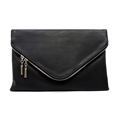 Elphis Fashion Evening Large Envelope Fold Over Clutch Purse Cross Body Bag (Black) by Elphis