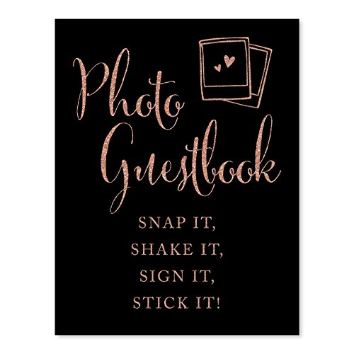 Andaz Press Wedding Party Signs, Faux Rose Gold Glitter on Black, 8.5x11-inch, Photo Guestbook Snap It, Shake It, Sign It, Stick It, Polaroid Sign 1-Pack