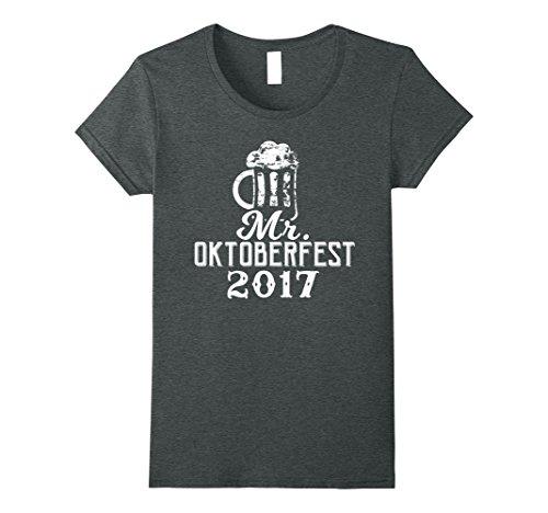 Womens Mr. Oktoberfest 2017 Funny Drinking T-Shirt Medium Dark Heather (Mr Oktoberfest Costume)