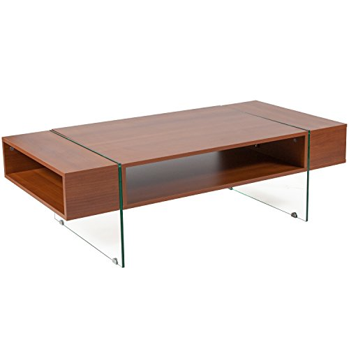 Flash Furniture Lafayette Place Cherry Wood Grain Finish Coffee Table with Glass Legs - 0.5' Thick Glass