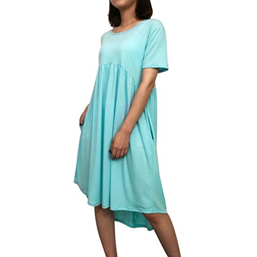 Guesspower Robe Femme Chic de Soiree t Elgante Plage Col Rond Manches Courtes Poches Plisses Lache Robe Dcontracte Irrgulire 5 Couleur, S-XXXL(36-46) Bleu