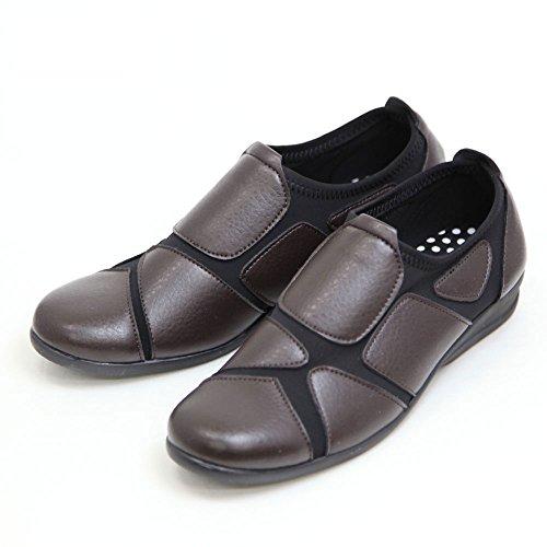 地元アーティキュレーション感謝祭レディース ウォーキングシューズ 履きやすい 外反母趾 靴 ストレッチシューズ スムースSC1801 ダークブラウン