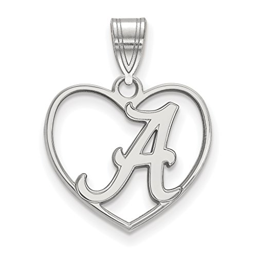 925 Sterling Silver Rhodium-plated Laser-cut University of Alabama Heart Pendant (Alabama Pendant Sterling Silver Jewelry)