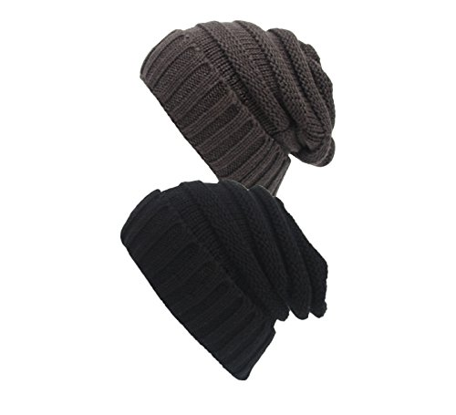 Spring fever Unisex Winter Slouch Thermal Fashion Cozy Stretch Baggy Beanie Hats New 2Pack:Black/Grey (Chef Hats In Bulk compare prices)