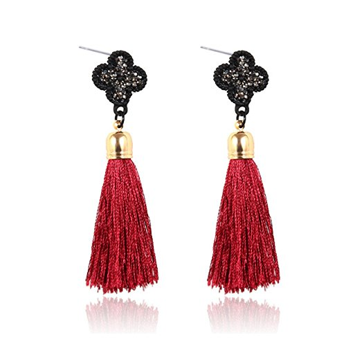 Luck Wang Ms. Fashion Bohemian Style Alloy Diamond Tassel Earrings(Red)