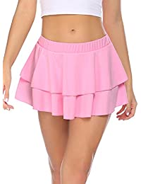 Women Pleated Mini Skirt Solid Ruffle Lingerie Skirts