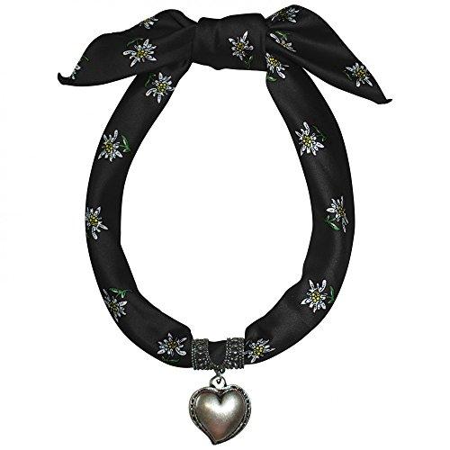 Dirndlkette Trachtenschmuck Dirndl Tuch Herz Kette Dirndltuch Trachtenkette Neu, Farbe:schwarz