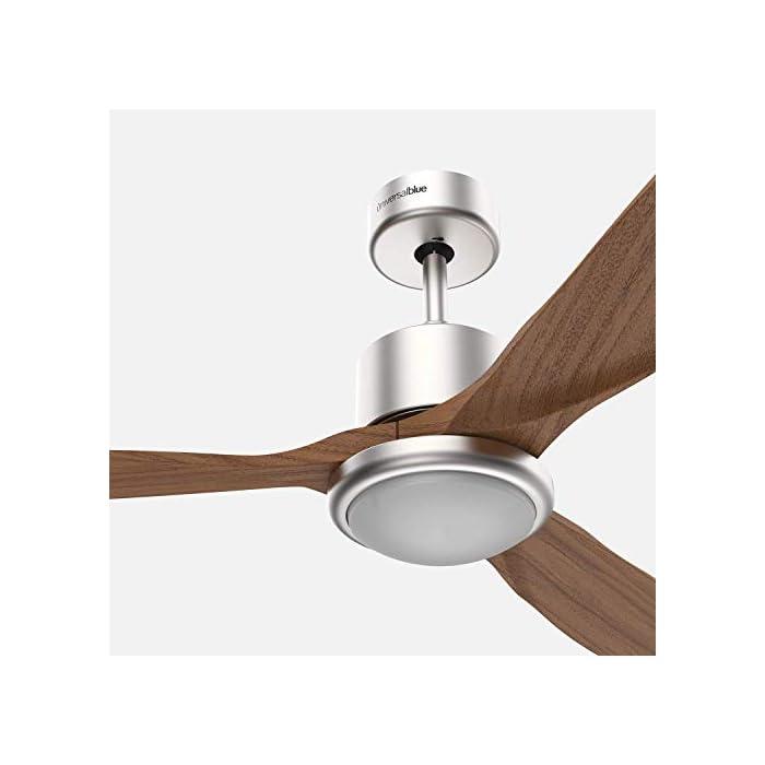 41hjVpVgv4L Ventilador de techo de madera de 3 aspas, diámetro de 132 cm y potencia de 100W que lo hacen ideal para refrescar cualqueir estancia de forma óptima de entre 20 y 30 m2. Destaca el acabado en acero inoxidable, que le da un toque estiloso y de diseño. Luz LED con 3 tonos de color diferentes con los que podrás decidir como iluminar cualquier estancia. Podrás elegir entre un tono cálido, otro blanco y un tercer frío, y cambiarlos cuando desees o en función de la decoración. Aspas de madera optimizadas para ofrecer una distribución del aire perfecta. Además, también incluye mando a distancia para tu mayor comodidad y temporizador, para que puedas programarlo.