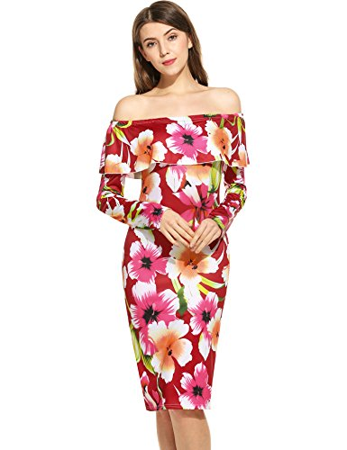 ANGVNS Sleeve Shoulder Bodycon Cocktail