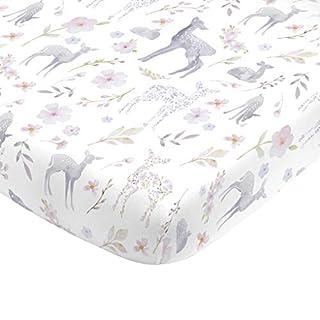 NoJo Super Soft Floral Deer Nursery Mini Crib Fitted Sheet, Grey, Light Blue, Pink, White