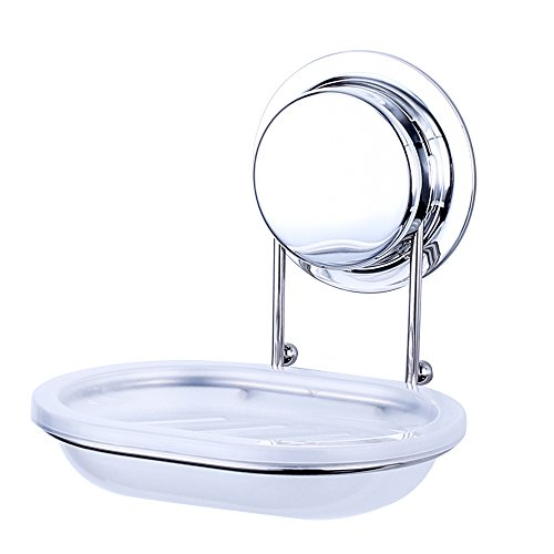 Ecoart Soap Dish Sponge Holder with Super Powerful Suction Cup or Screw for Wall Mount Stainless Steel Soap Saver for Bathroom & Kitchen, Rust proof