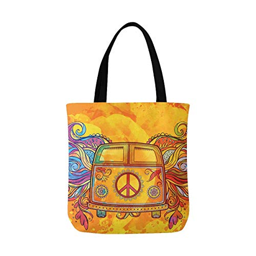 InterestPrint Hippie Vintage Car a Mini Van with Peace Sign Canvas Tote Canvas Shoulder Bag Resuable Grocery Bags Shopping Bags for Women Men Kids