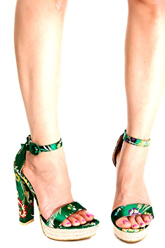 Lolli Couture Orientale Stampa Open Toe Cinturino Alla Caviglia Fibbia Piattaforma Chunky Tacchi Alti Scarpe Greenorientalprint
