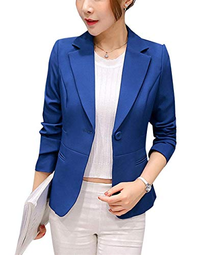 Lunga Business Puro Fit Confortevole Suit Donna Colore Formale Da Leisure Saphirblau Outwear Tailleur Button Autunno Giacca Slim Giubotto Bavero Manica 18qwgz
