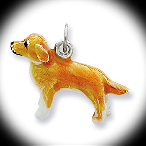 Sterling Silver 3-D Enameled Golden Retriever Solid Charm Pendant Vintage Crafting Pendant Jewelry Making Supplies - DIY for Necklace Bracelet Accessories by CharmingSS