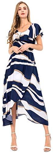 (Wantdo Women's Split Maxi Dresses Ruffle U Neck Floral Print Beach Dress with Irregular Hem(Navy, S))