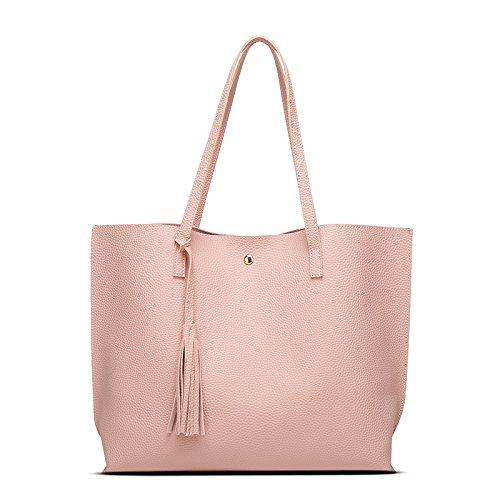 mefly Fashion bolso Nueva fácil großv olumige funda, negro rosa