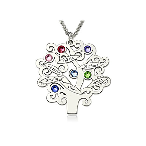 Meichang Scarlett Personalised Family Tree Necklace with Creative DIY Birth Stone Name Necklace for Loves Custom Birthstone Necklace -