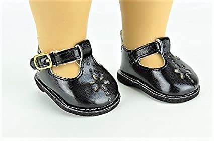 f9d40faa25a7 Image Unavailable. Image not available for. Color  Black Flower Mary Janes  Shoes. -Doll clothing Accessory -Fits 18 quot  American Girl
