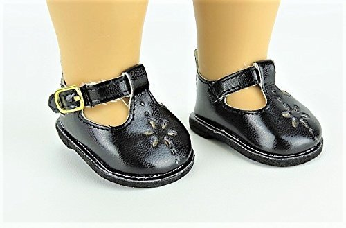 - Black Flower Mary Janes Shoes. -Doll clothing Accessory -Fits 18