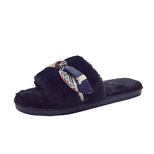 Tie Ladies Indoor Shoes Slip On Bow Fur Faux Fluffy Open Women Warm Toe Black House SUKEQ Slippers Slipper Winter Comfy UTwvIWq