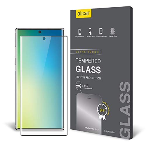 Price comparison product image Olixar for Samsung Galaxy Note 10 Screen Protector - Tempered Glass 9H Rated - Shock Protection - Easy Application,  Card and Cleaning Cloth Included - Clear