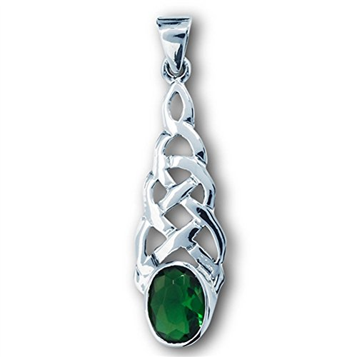 Teardrop Celtic Pendant Simulated Emerald .925 Sterling Silver Braided Charm - Silver Jewelry Accessories Key Chain Bracelet Necklace Pendants