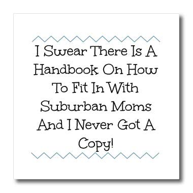 (3dRose Carrie Merchant Quote Image - Image of Suburban Handbook for Moms - 8x8 Iron on Heat Transfer for White Material (ht_317193_1))