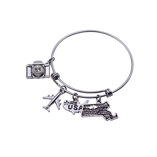 DYbaby Travel Bracelet US Map Charm and State Map Charm Expandable Wire Bracelet Necessary Gift for Travellers (Massachusetts)