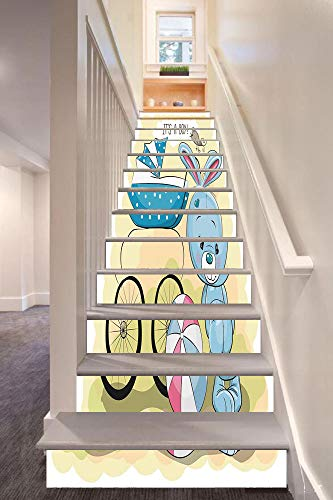 Gender Reveal Decorations 3D Stair Riser Stickers Removable Wall Murals Stickers,Cute Bunny Baby Carriage and Ball Its Boy Kids Design,for Home Decor 39.3
