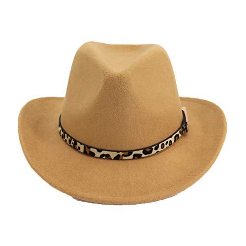 ASO-SLING Wool Felt Wide Brim Western Cowboy Hat Outback Fedora Hat with Leopard Grain Belt Buckle Camel