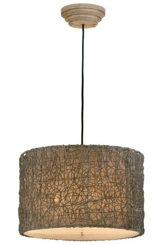 "Knotted Rattan Hanging Shade, 12""Hx19""D, LIGHT BROWN"