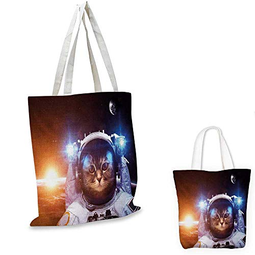 """Space Cat canvas messenger bag Kitten in Space Suit Sun Lunar Eclipse Over Planet Stars Image canvas beach bag White Orange and Dark Blue. 16""""x18""""-13"""""""