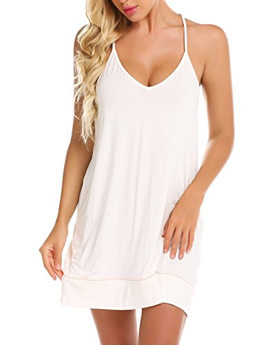 Ekouaer Womens V Neck Sleeveless Chemise Nightgown Sleepwear Full Slip Night - Sleepwear Chemise Womens Nightgowns Cotton