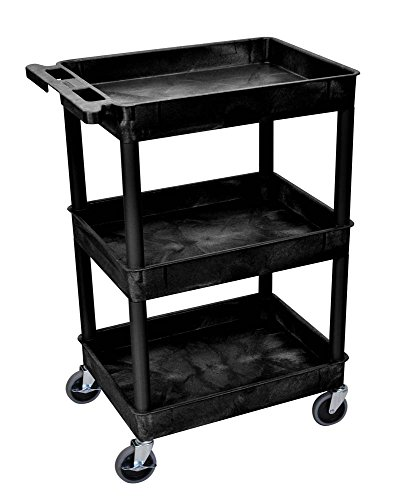 Luxor STC111 40.5'' Automotive Utility Cart with 3 Shelves, Black by Luxor