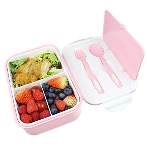 UPTRUST Bento Lunch container For Kids, Bento adult box With 3 Compartment. Leak-proof, Microwave safe, Dishwasher Safe, Freezer Safe,Meal Fruit Snack Packing Box(Spoon&Fork included,Pink-White)
