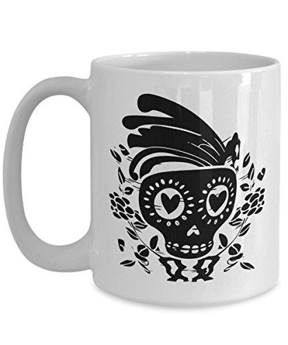 Skeleton Day Of The Dead Coffee Mug | Dia De Los Muertos Skull Design Halloween Accessory | Birthday Christmas Gift Idea White 15oz Ceramic]()
