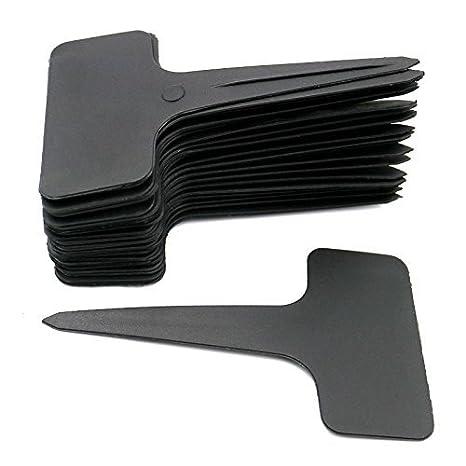 KINGLAKE 100 STK T Typ Plastik Pflanzenschilder Schwarz zum Beschriften Pflanzenstecker Wetterfest Stecketiketten Schwarz Eti