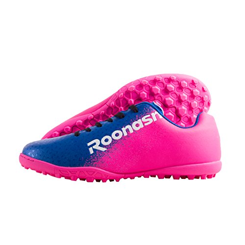 ROONASN Men's Athletic Turf Soccer Cleats Football Boots Outdoor/Indoor Sports Shoes (9.5 M US, Blue/Pink)