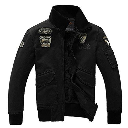 H.T.Niao Jacket8204C2 Men 's Air Force One Collar Plus Velvet Jackets(Black,Size (Devil Coatume)