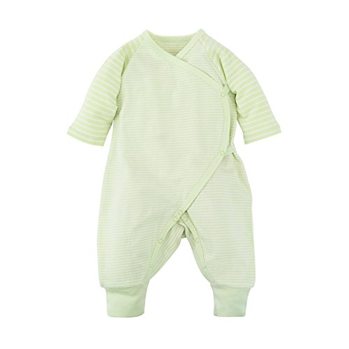 (Under the Nile Baby Unisex Long Sleeve Side Snap Kimono Sage Stripe Organic Cotton (0-3m))
