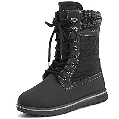 Polar Products Womens Quilted Short Faux Fur Snow Waterproof Winter Durable Side Zipper Sneaker Boots - 5 - BLK36US AYC0525