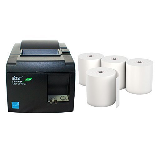 Star Micronics TSP 143IIU Receipt Printer Productivity Bundle - Easy to Use - USB Printer - Dark Gray - Compatible with Square Stand - Includes Four (4) Rolls of Receipt Paper
