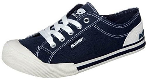 Rocket Dog Jazzin Navy White New Women Laced Canvas Trainers Shoes Boots etsYER6w