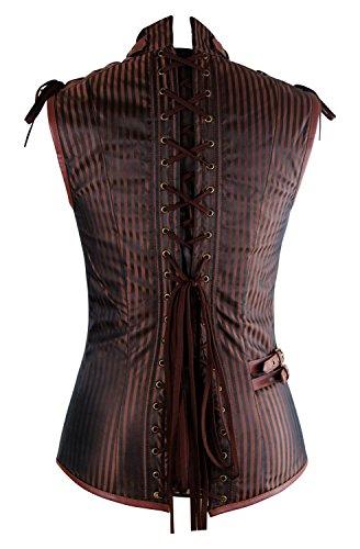 Charmian Men's Spiral Steel Boned Victorian Steampunk Gothic Waistcoat Vest 5